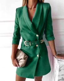 Стилна дамска рокля в зелено - код 9257