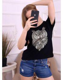 Черна дамска тениска с бухал - код 3541