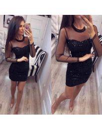 Блестяща черна рокля с тюлена горна част - код 234
