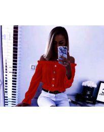 Кокетна дамска риза с паднали рамене в червено - код 7126