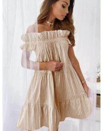 Свободна рокля в  бежово - код  0299