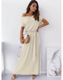 Изчистена рокля в бежово - код 7700
