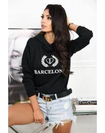 Дамска спортна блуза в черно с надпис - код 766