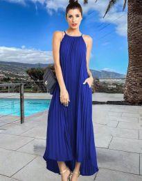 Дълга лятна рокля в тъмносиньо - код 6999