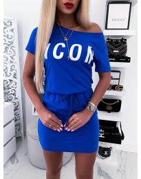 Свободна дамска рокля в синьо - код 9905