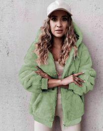 Пухкаво дамско палто в светлозелено - код 5489