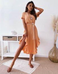 Атрактивна дамска рокля в цвят праскова - код 11893