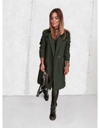 Дамско палто в маслено зелено - код 4540