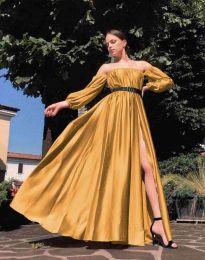 Елегантна дълга дамска рокля в цвят горчица - код 1879