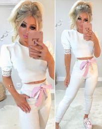 Дамски комплект блуза и панталон в бяло - код 7166