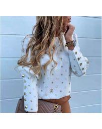 Дамска бяла риза на звездички - код 783
