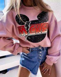 Дамска блуза в розово с принт - код 2535