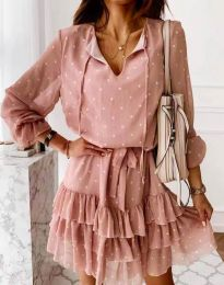 Стилна дамска рокля в цвят пудра на точки - код 7113