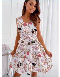 Феерична рокля в бяло с атрактивен десен - код 325