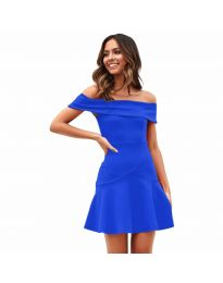 Разкроена рокля в синьо - код 611