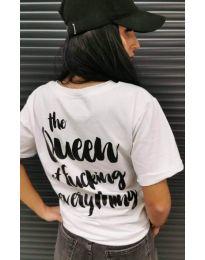Дамска тениска в бяло с принт на гърба - код 499