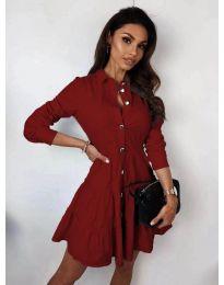Атрактивна дамска рокля в цвят бордо - код 3852