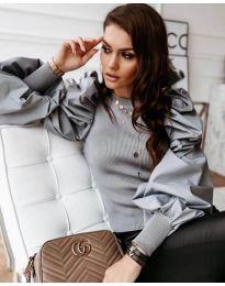 Сива дамска блуза с ефектни ръкави - код 3506