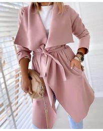 Свободно палто в цвят пудра - код 8778