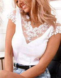 Дамски блуза с дантела в бяло - код 3210