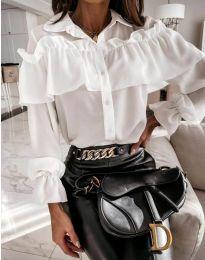 Кокетна дамска риза в бяло - код 2433