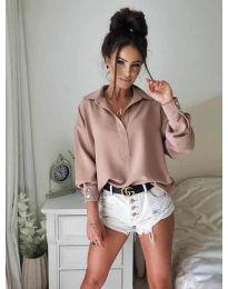 Елегантна риза в цвят пудра - 9898