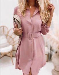 Дамска рокля в цвят пудра - код 7490