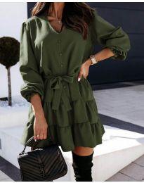Свободна рокля в  зелено - код 8272