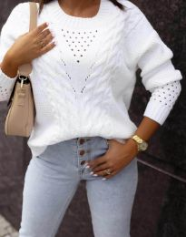 Плетен дамски пуловер в бяло - код 1620