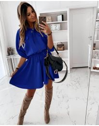 Свободна дамска рокля в синьо - код 8586