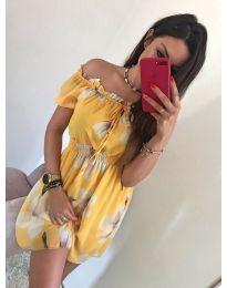 Къса лятна рокля в цвят горчица - код 828