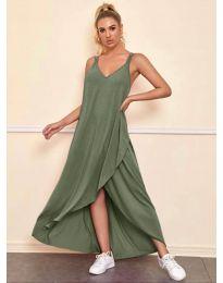 Дълга дамска рокля в маслено зелено - код 3083