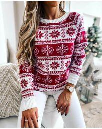 Дамски пуловер със зимен десен - код 5547 -1