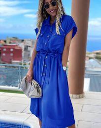 Свободна дамска рокля в синьо - код 6344