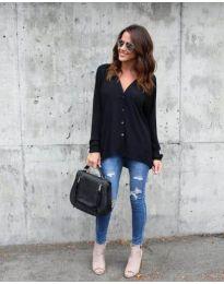 Дълга дамска риза в черен цвят - код 047