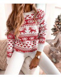 Дамски пуловер със зимен десен - код 2725 - 2