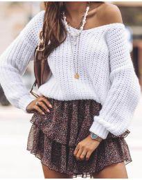 Дамски пуловер в бяло - код 6066