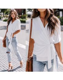 Изчистена  дамска блуза в цвят  бяло - код 0009
