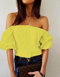 Екстравагантна дамска риза в жълто - код 3525