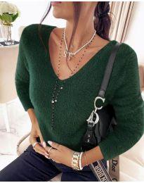 Дамска блуза в маслено зелено - код 8051