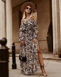 Дълга дамска рокля с атрактивен десен - код 2978 - 1
