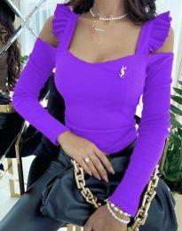 Блуза в лилаво с ефектни ръкави - код 2380