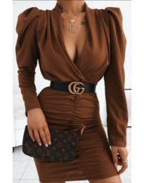 Стилна рокля в кафяво - код 953