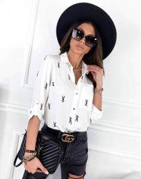 Атрактивна дамска риза в бяло - код 3223 - 6