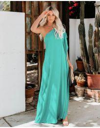 Дълга рокля с цепка в цвят мента - код 6681