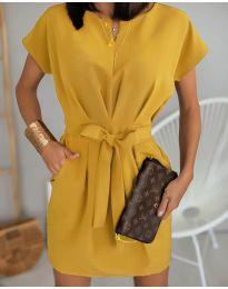 Елегантна рокля в цвят горчица - код 772