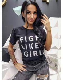 Дамска тениска в черно с надпис - код 467