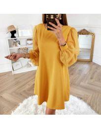 Свободна рокля с бухнали ръкави в цвят горчица - код 238