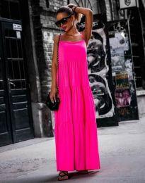 Свободна дълга рокля в цвят циклама - код 2301