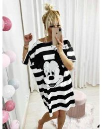 Свободна рокля на черно райе с Мики Маус - код 517